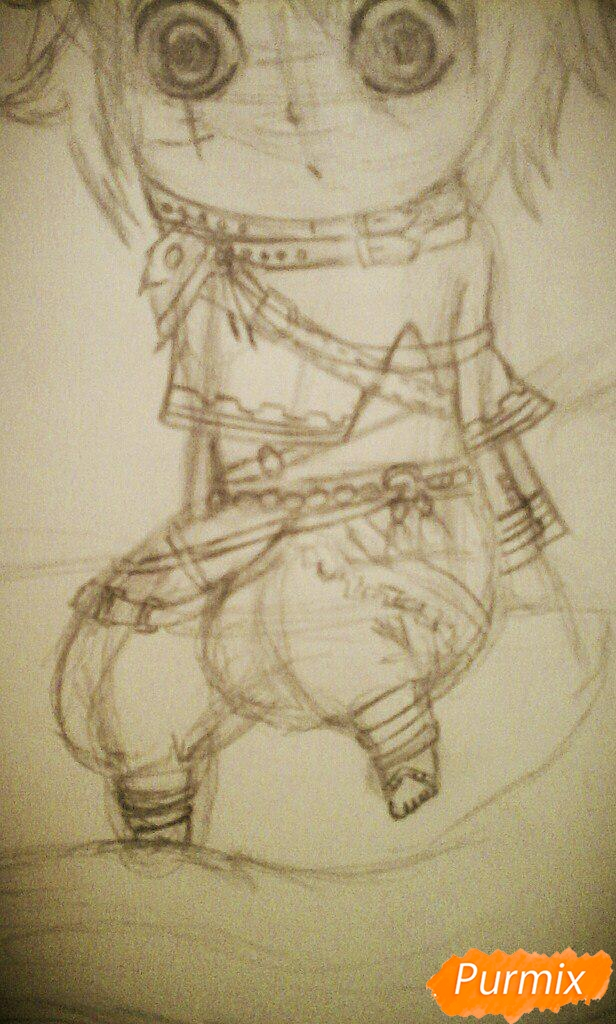 Рисуем миленького ёкайчика карандашами - шаг 9