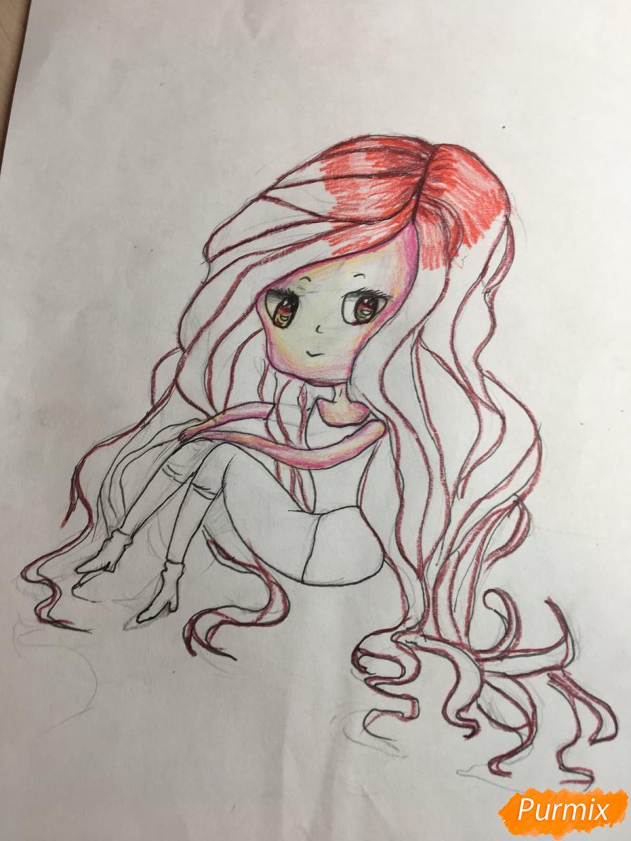 Рисуем сидящую чиби девочку с длинными волосами - шаг 10