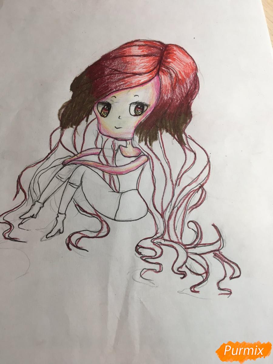 Рисуем сидящую чиби девочку с длинными волосами - шаг 11