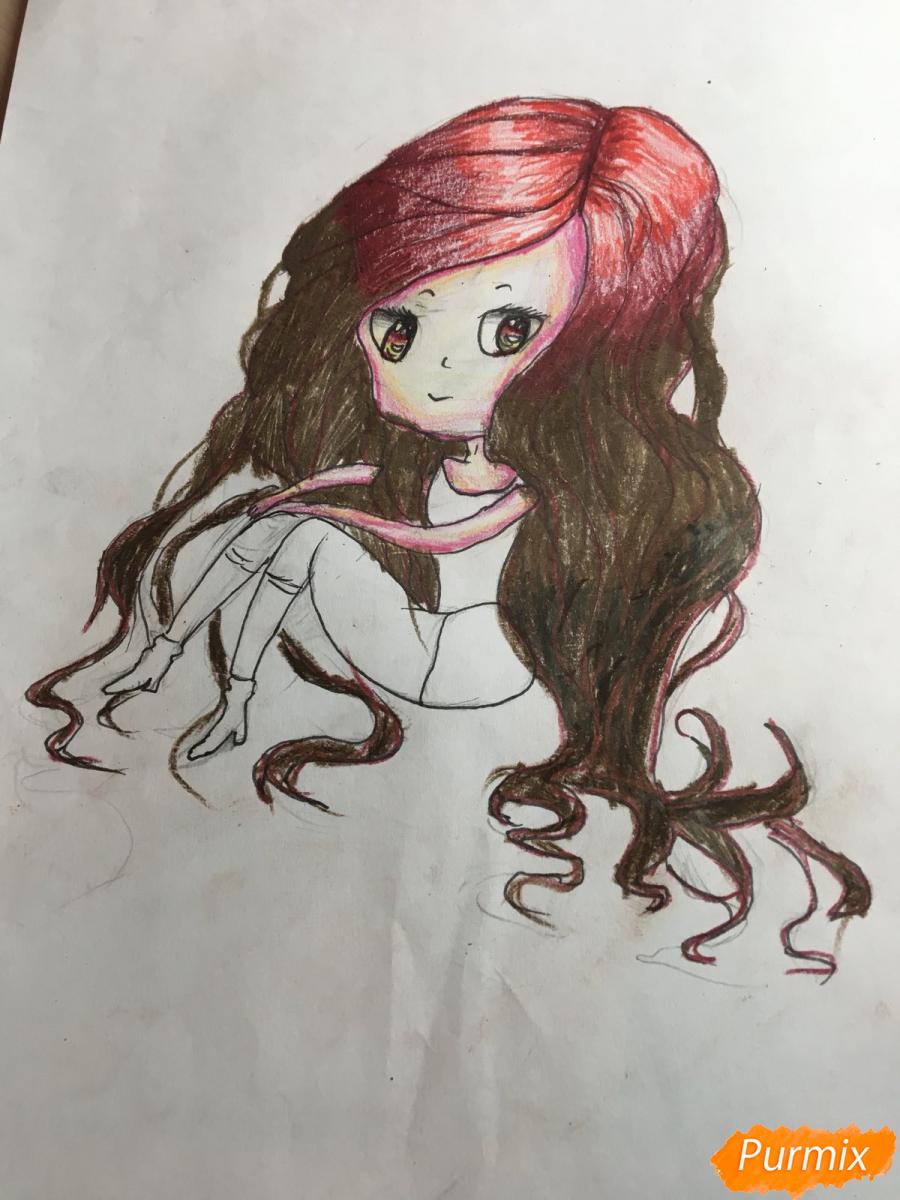 Рисуем сидящую чиби девочку с длинными волосами - шаг 12