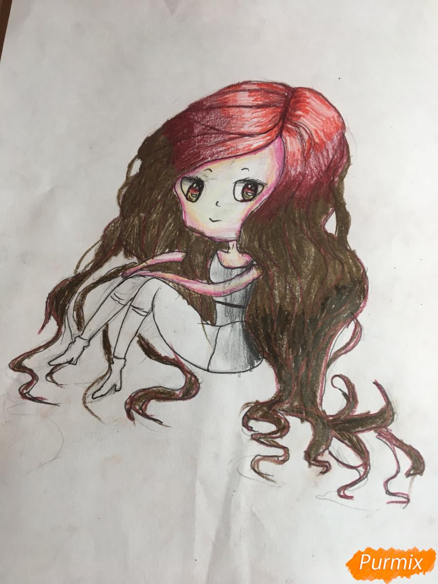 Рисуем сидящую чиби девочку с длинными волосами - шаг 13