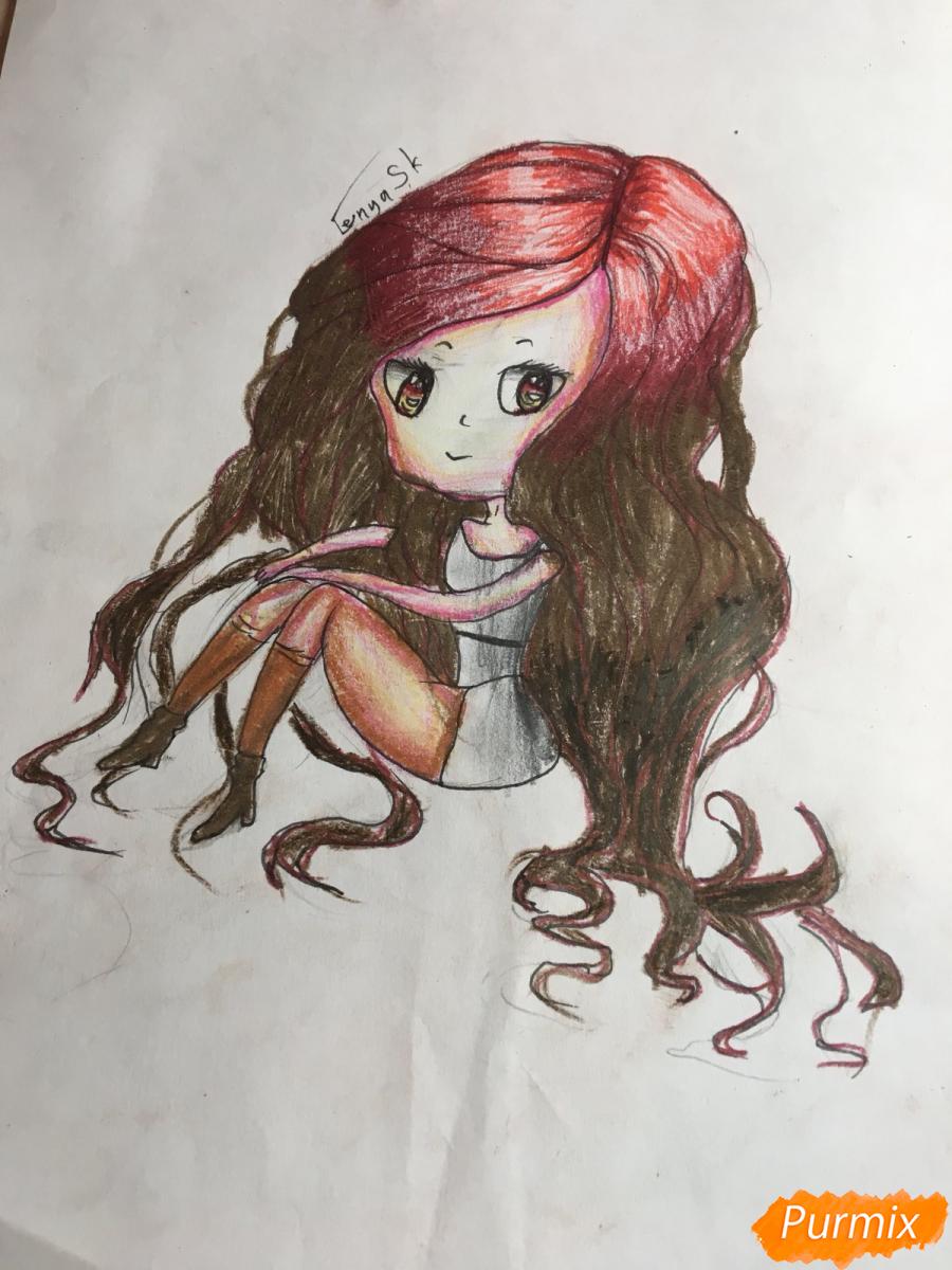 Рисуем сидящую чиби девочку с длинными волосами - шаг 14