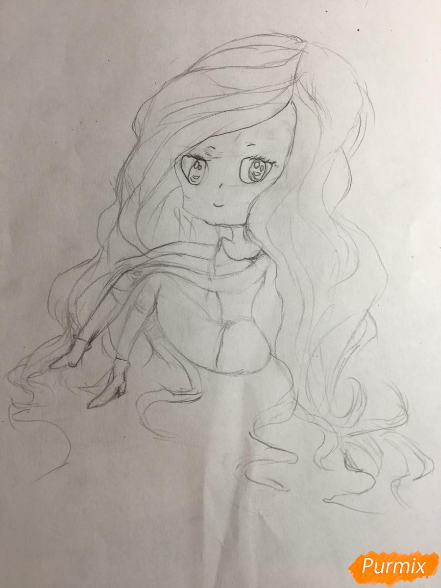 Рисуем сидящую чиби девочку с длинными волосами - шаг 5