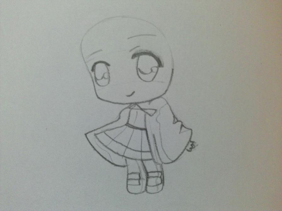 Рисуем девочку чиби в шапке Деда Мороза - шаг 2