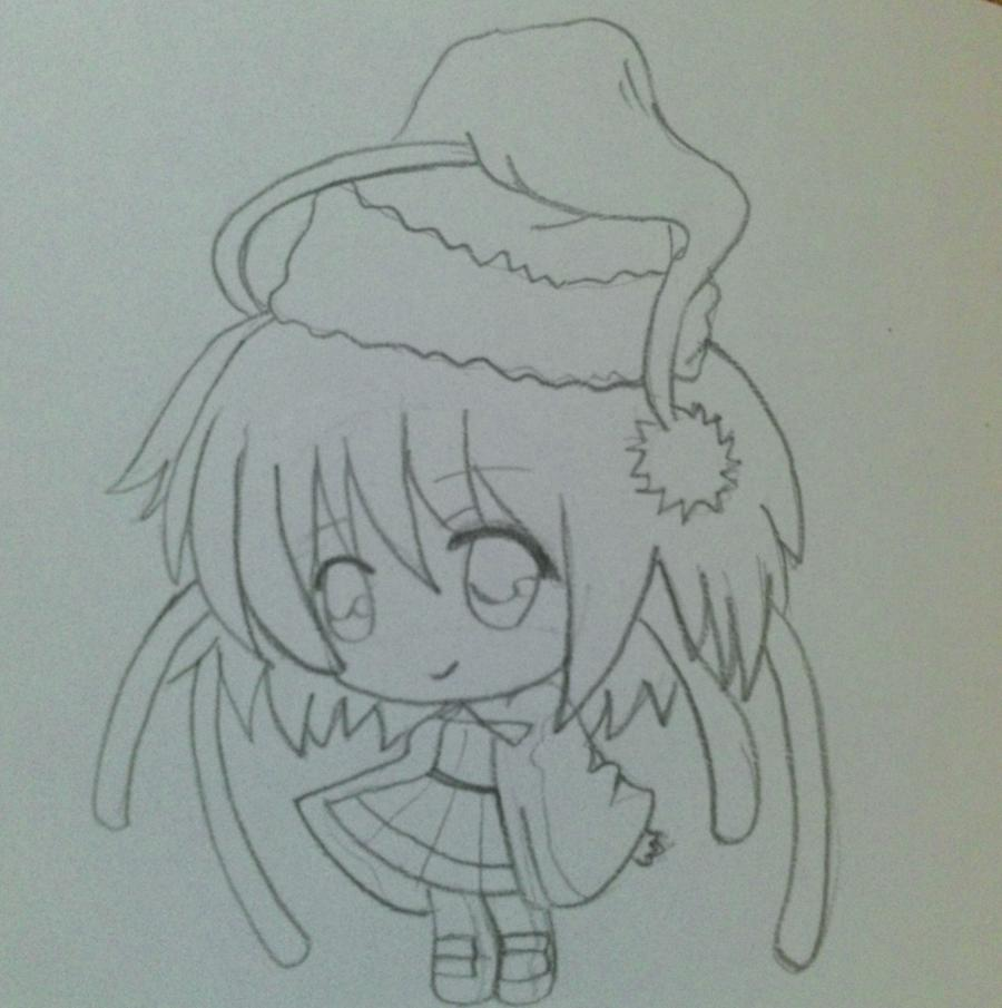 Рисуем девочку чиби в шапке Деда Мороза - шаг 3