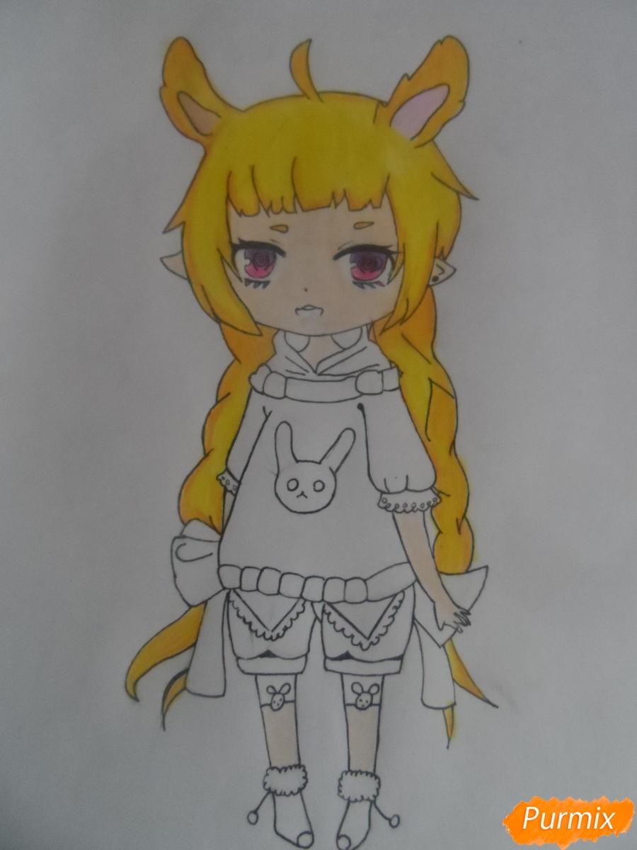 Учимся рисовать девочку Чиби в виде зайки - шаг 10