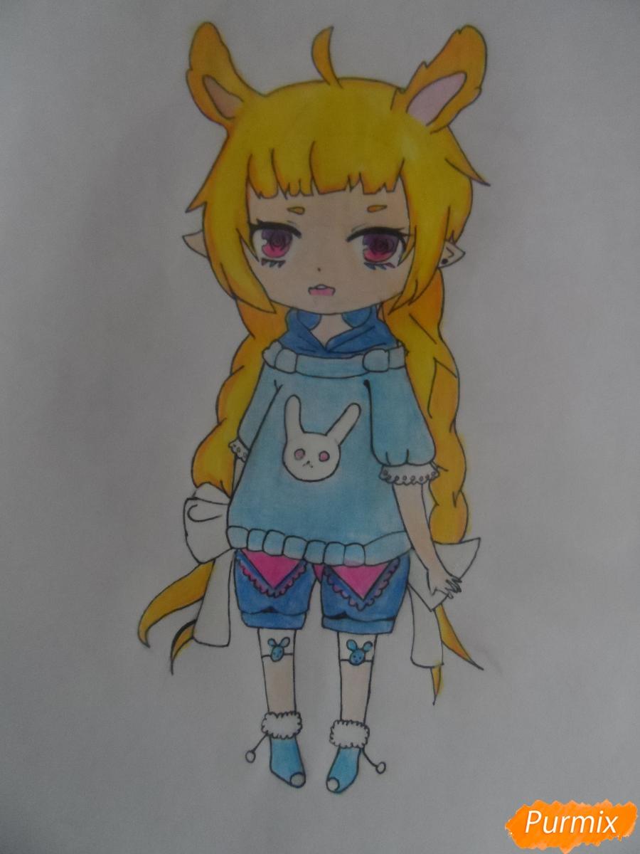 Учимся рисовать девочку Чиби в виде зайки - шаг 11