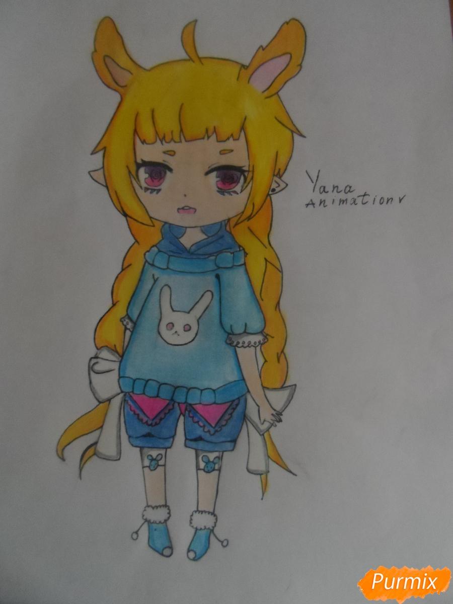 Учимся рисовать девочку Чиби в виде зайки - шаг 12