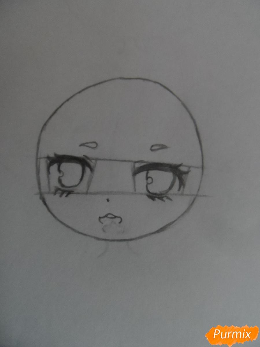 Учимся рисовать девочку Чиби в виде зайки - шаг 3