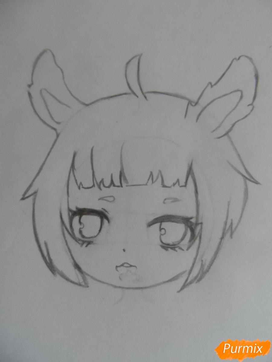 Учимся рисовать девочку Чиби в виде зайки - шаг 4