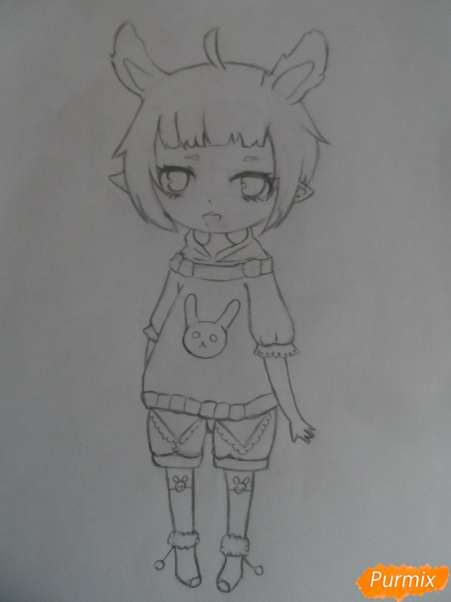 Учимся рисовать девочку Чиби в виде зайки - шаг 5