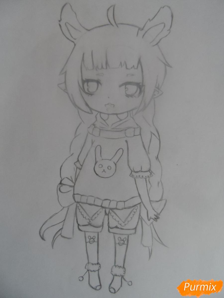 Учимся рисовать девочку Чиби в виде зайки - шаг 6