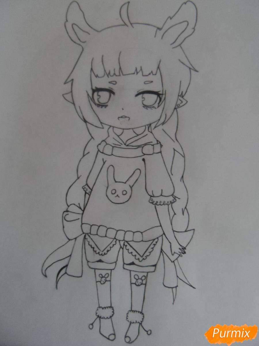 Учимся рисовать девочку Чиби в виде зайки - шаг 7