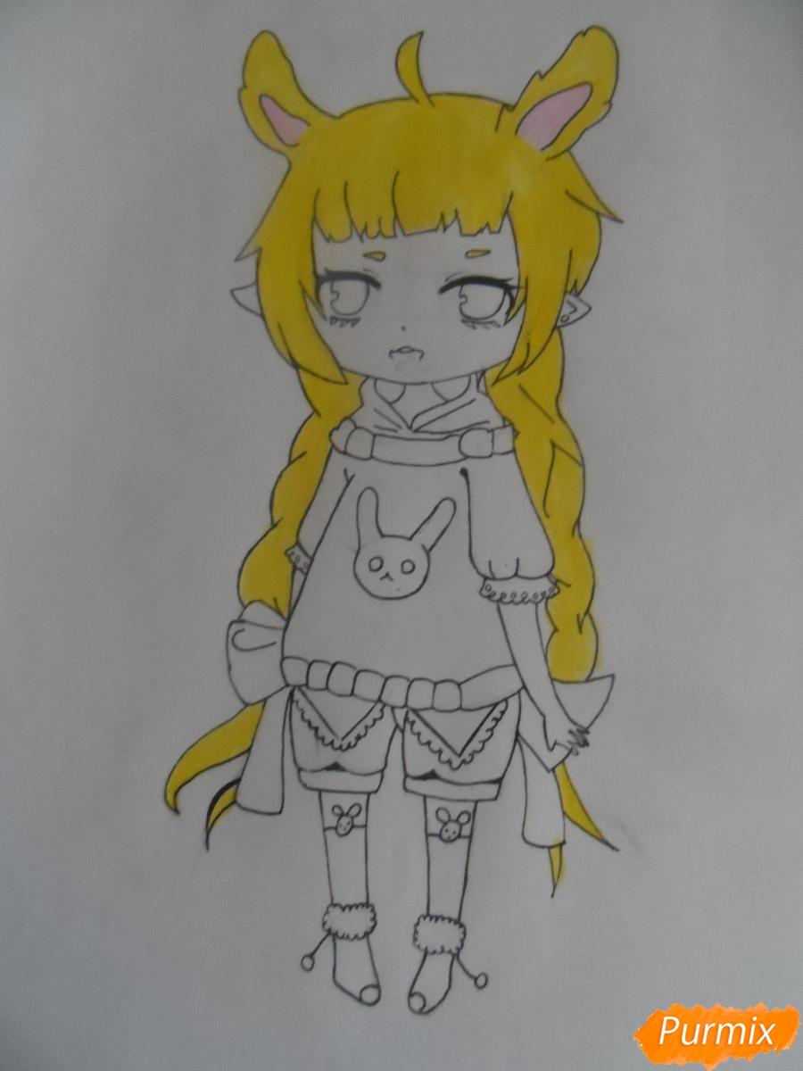 Учимся рисовать девочку Чиби в виде зайки - шаг 8