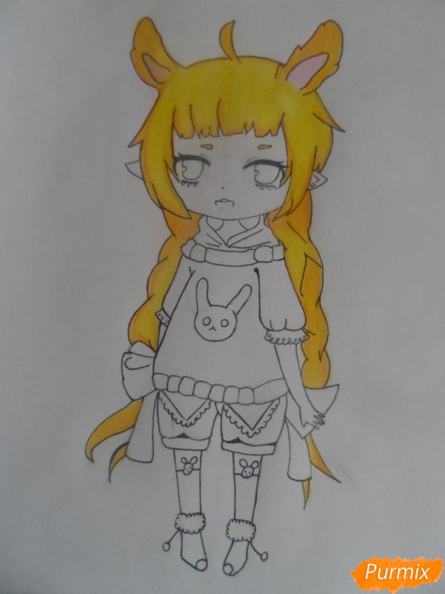 Учимся рисовать девочку Чиби в виде зайки - шаг 9