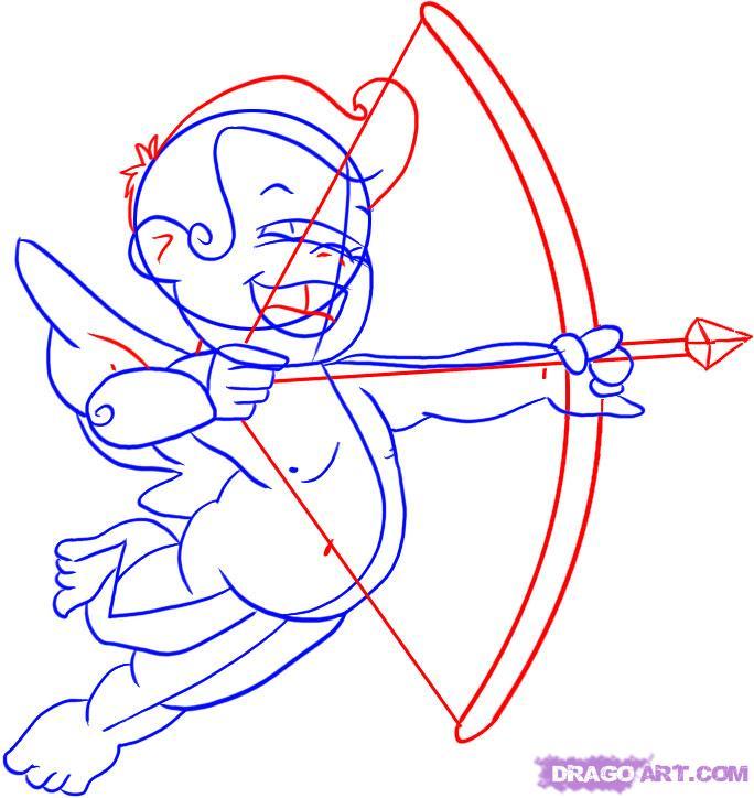 Как просто нарисовать Амура  для начинающих - шаг 4