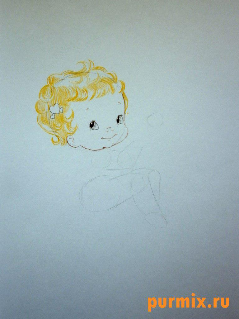 Рисуем Купидона ко дню Св. Валентина цветными карандашами - шаг 3