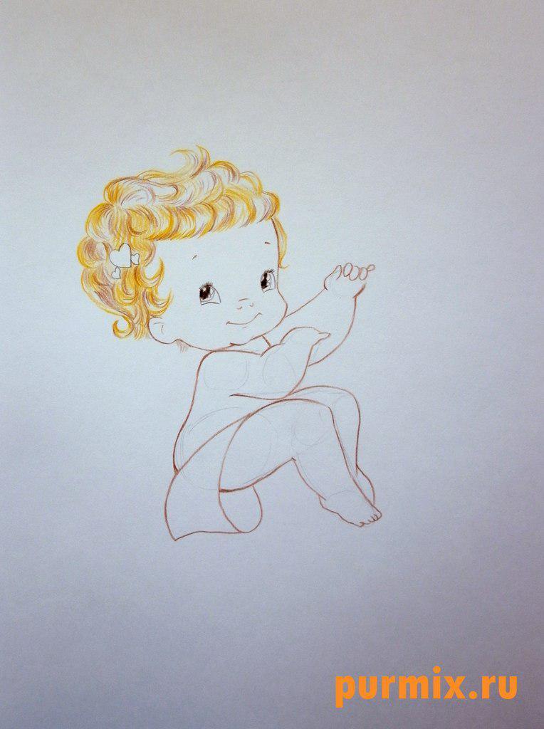 Рисуем Купидона ко дню Св. Валентина цветными карандашами - шаг 4