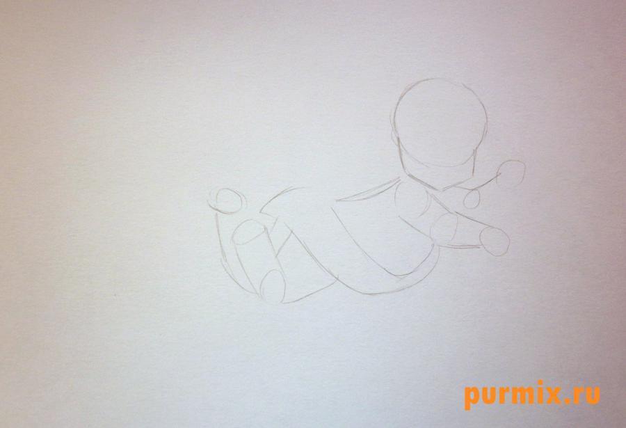 Рисуем Амура на 14 февраля цветными карандашами - шаг 1