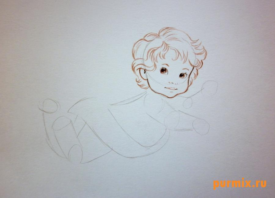 Рисуем Амура на 14 февраля цветными карандашами - шаг 2