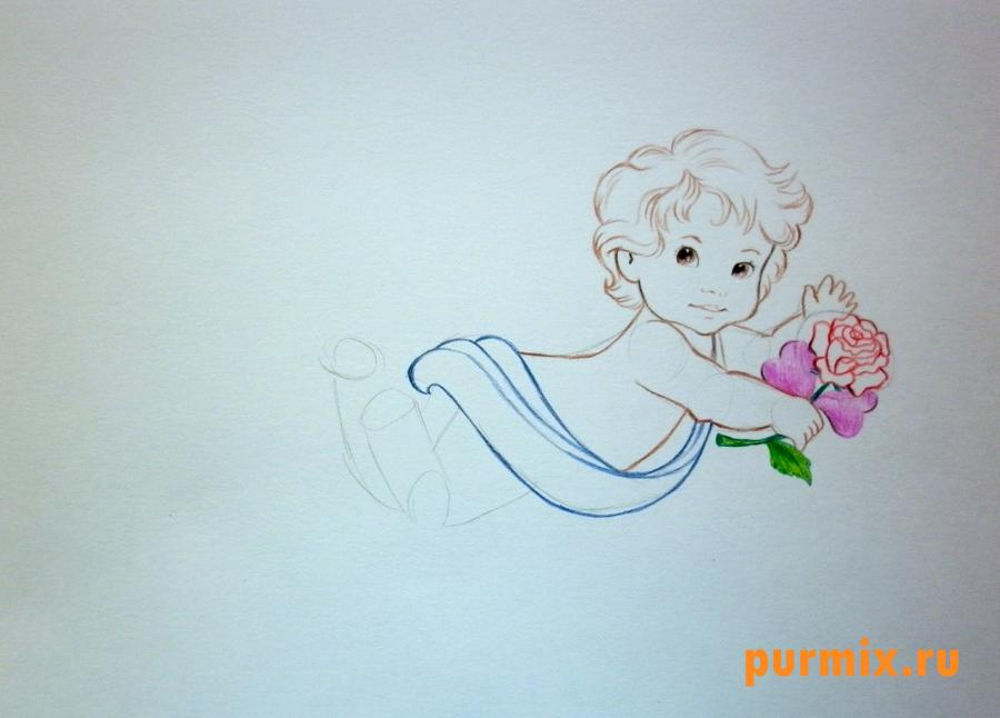 Рисуем Амура на 14 февраля цветными карандашами - шаг 4