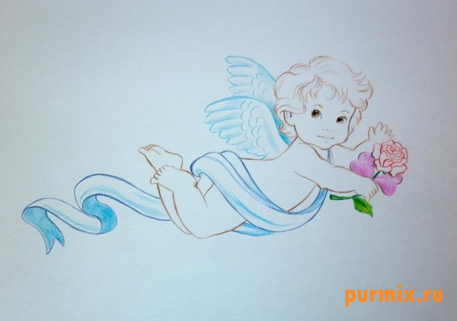 Рисуем Амура на 14 февраля цветными карандашами - шаг 6