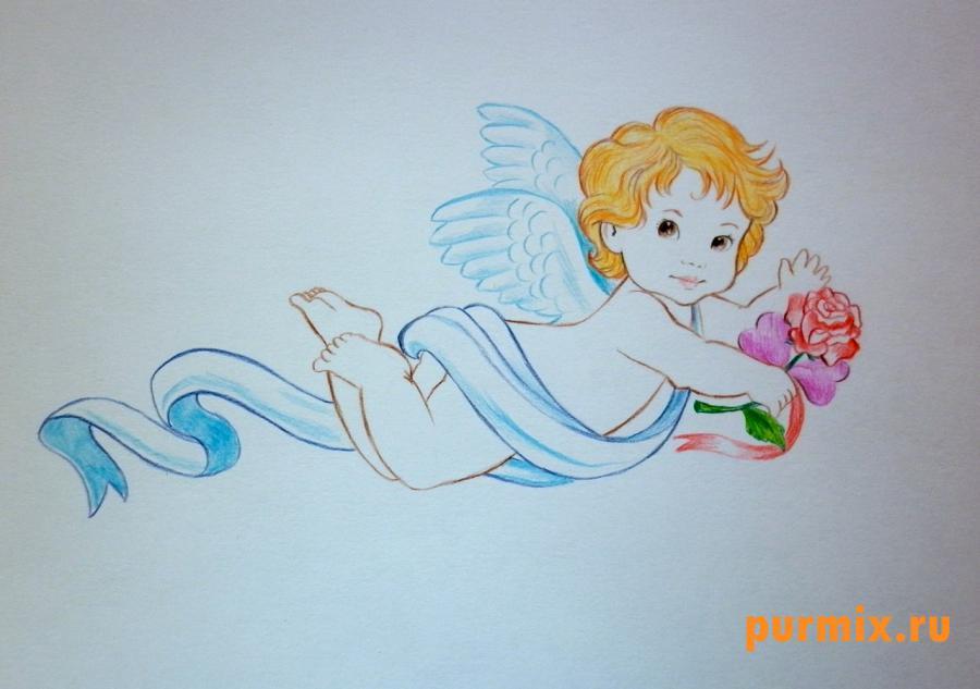 Рисуем Амура на 14 февраля цветными карандашами - шаг 7