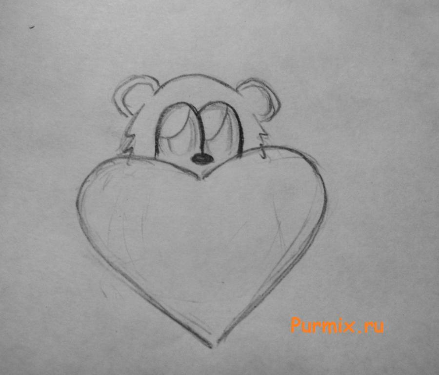 Рисуем милого мишку на день Св. Валентин - шаг 3