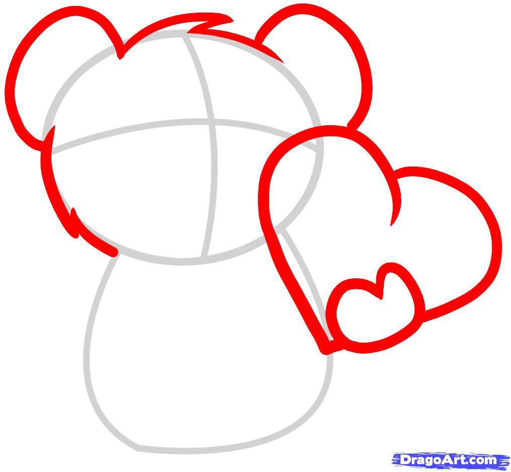 Рисуем мишку с валентинкой - шаг 2
