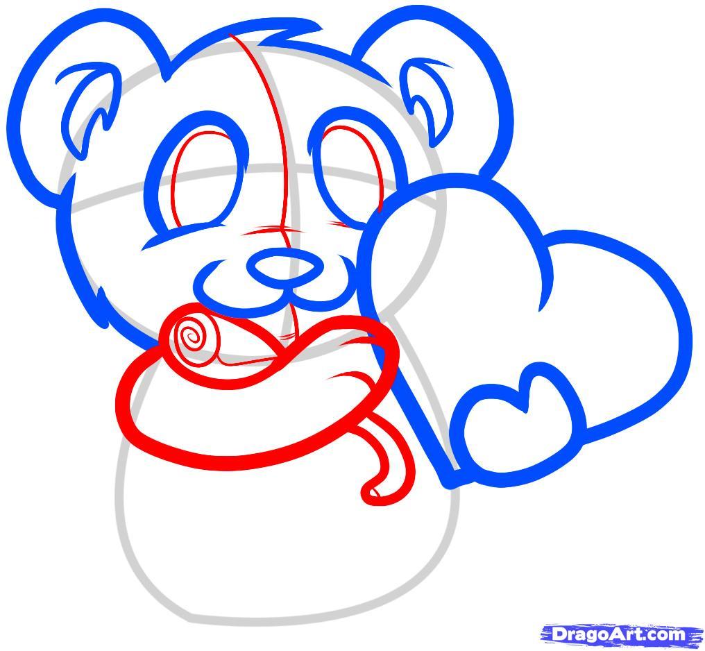Рисуем мишку с валентинкой - шаг 4