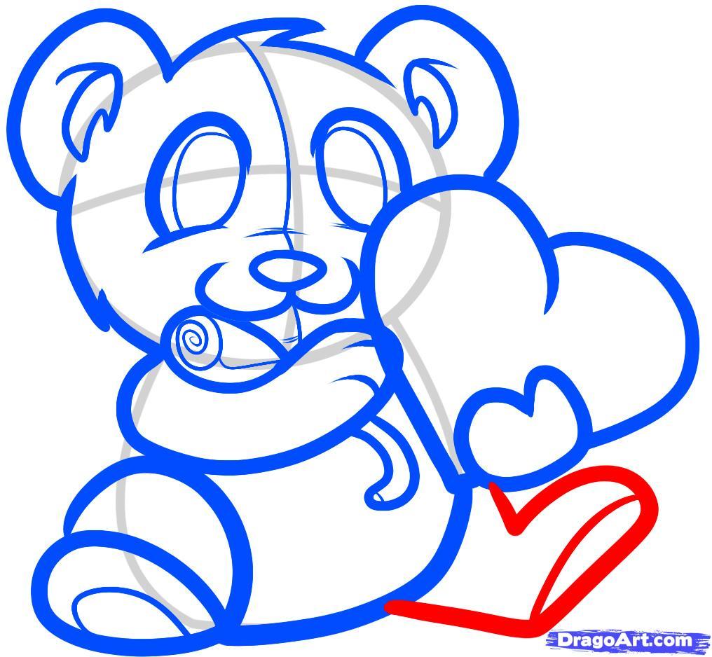 Рисуем мишку с валентинкой - шаг 6