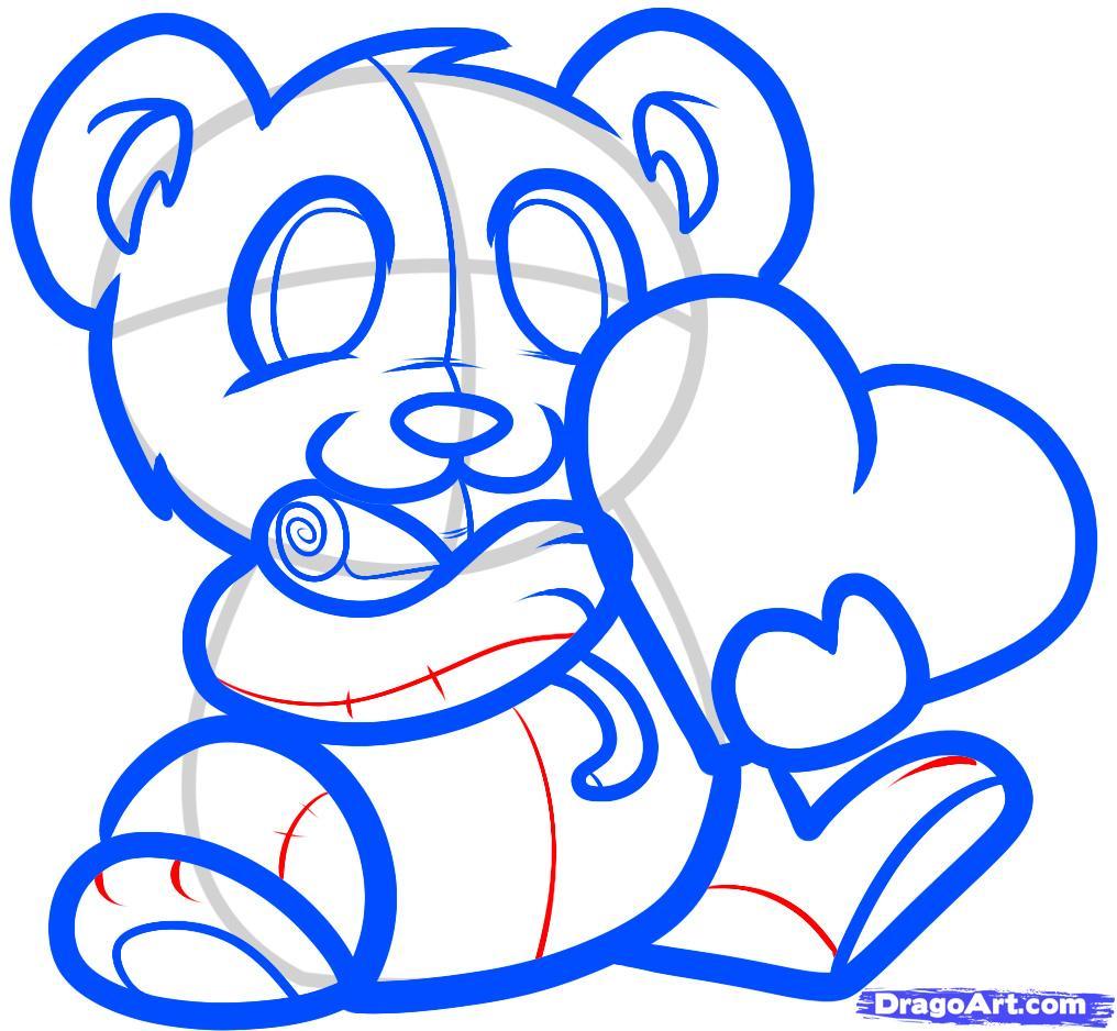 Рисуем мишку с валентинкой - шаг 7