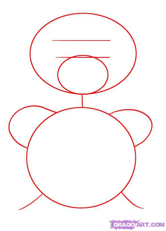 Рисуем плюшевого мишку с сердцем - шаг 1