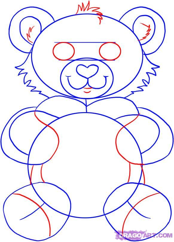 Рисуем плюшевого мишку с сердцем - шаг 4