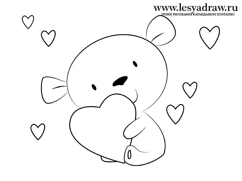 Как просто нарисовать маленького мишку с сердечком - шаг 5