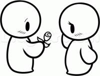 Как просто нарисовать влюбленную пару на валентинке карандашом