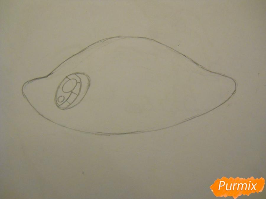 Рисуем и раскрасить рыбку ребёнку - шаг 1