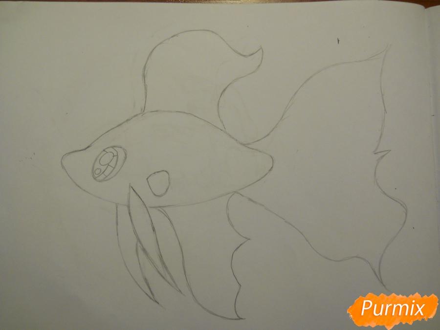 Рисуем и раскрасить рыбку ребёнку - шаг 2