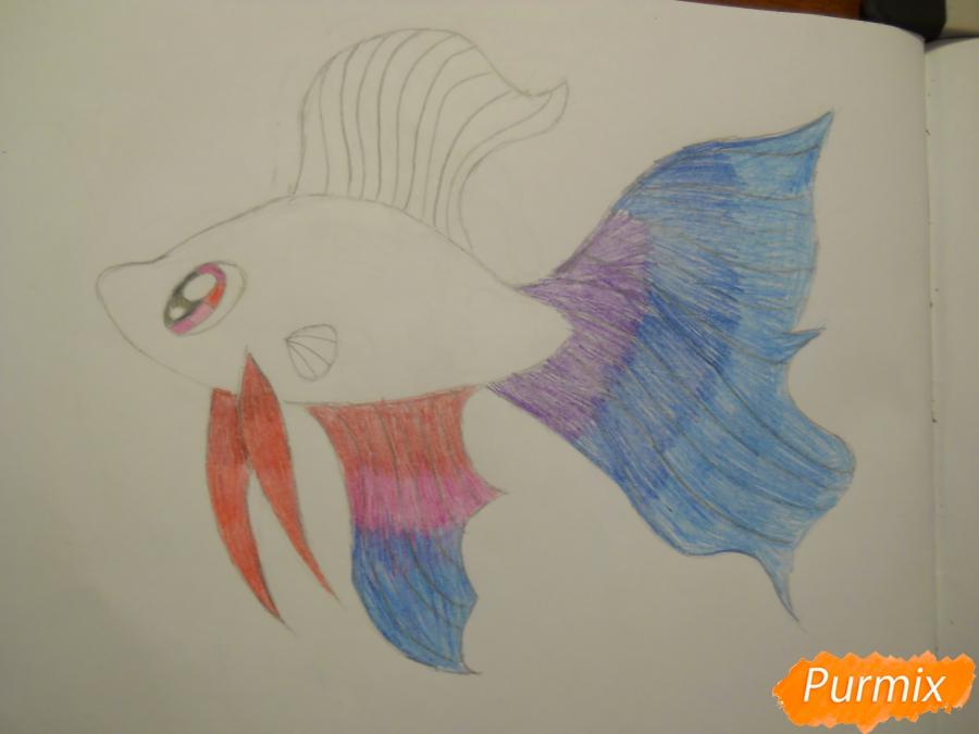 Рисуем и раскрасить рыбку ребёнку - шаг 7