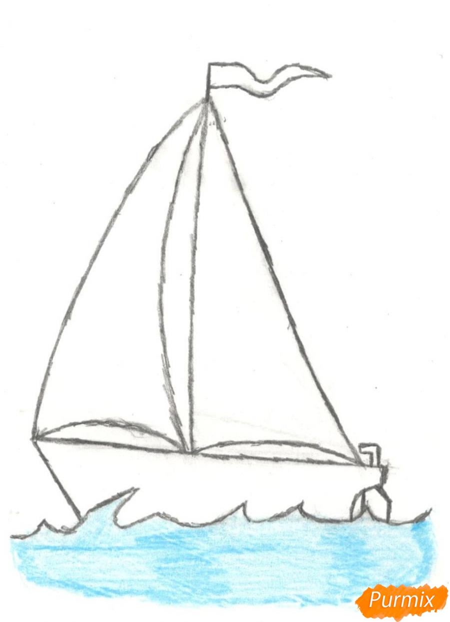 Рисуем кораблик (детский урок) - шаг 7