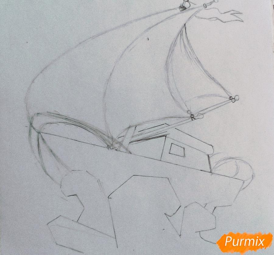 Рисуем кораблик ребенку карандашами - шаг 1