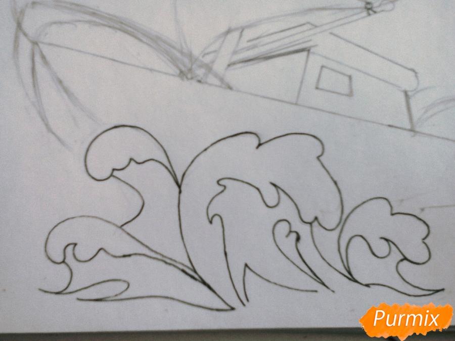 Рисуем кораблик ребенку карандашами - шаг 3