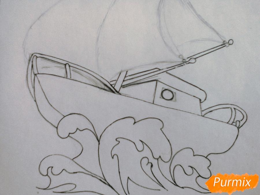 Рисуем кораблик ребенку карандашами - шаг 4