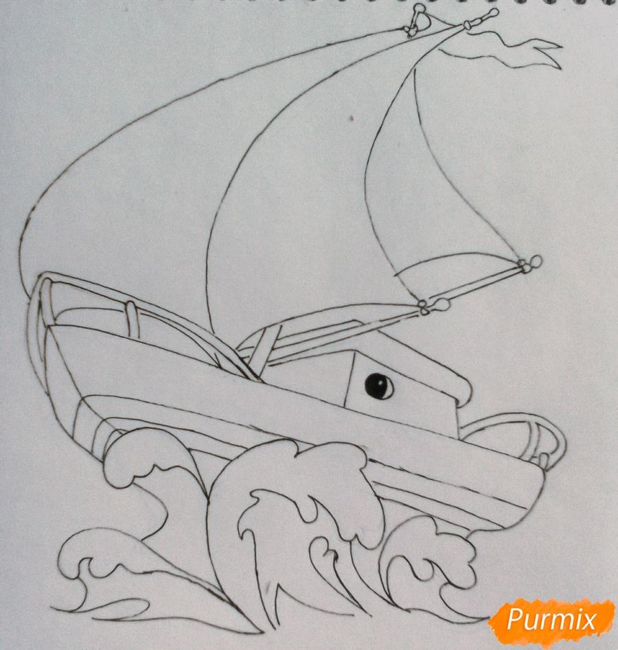 Рисуем кораблик ребенку карандашами - шаг 5