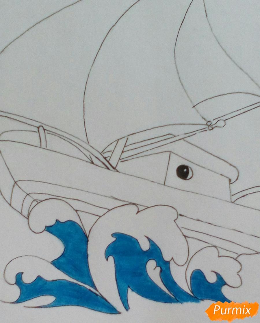 Рисуем кораблик ребенку карандашами - шаг 6