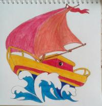 Фото кораблик ребенку карандашами