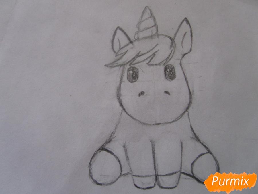 Рисуем маленького единорожка ребенку карандашами - шаг 6