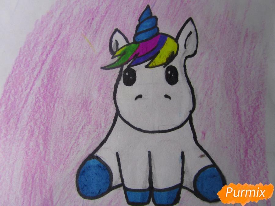 Рисуем маленького единорожка ребенку карандашами - шаг 9