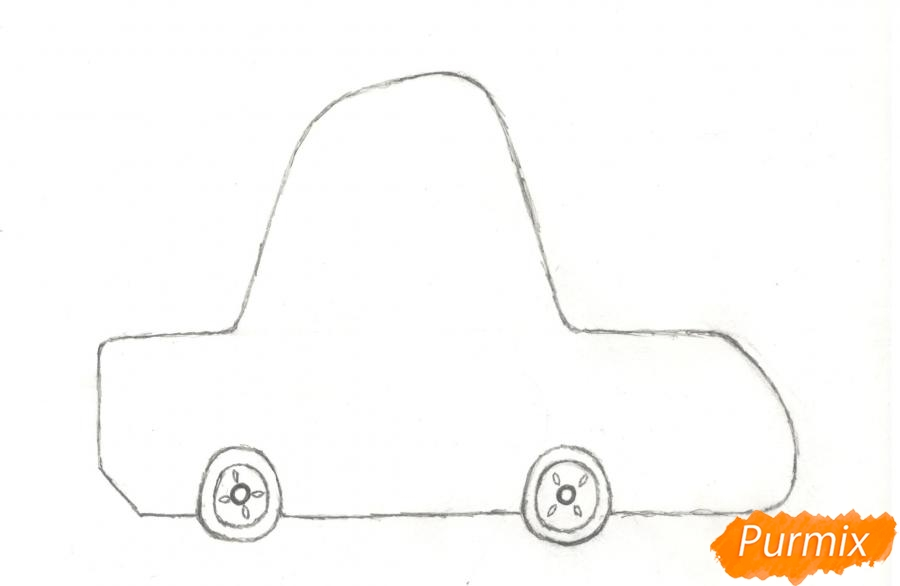 Рисуем машинку ребенку - шаг 2