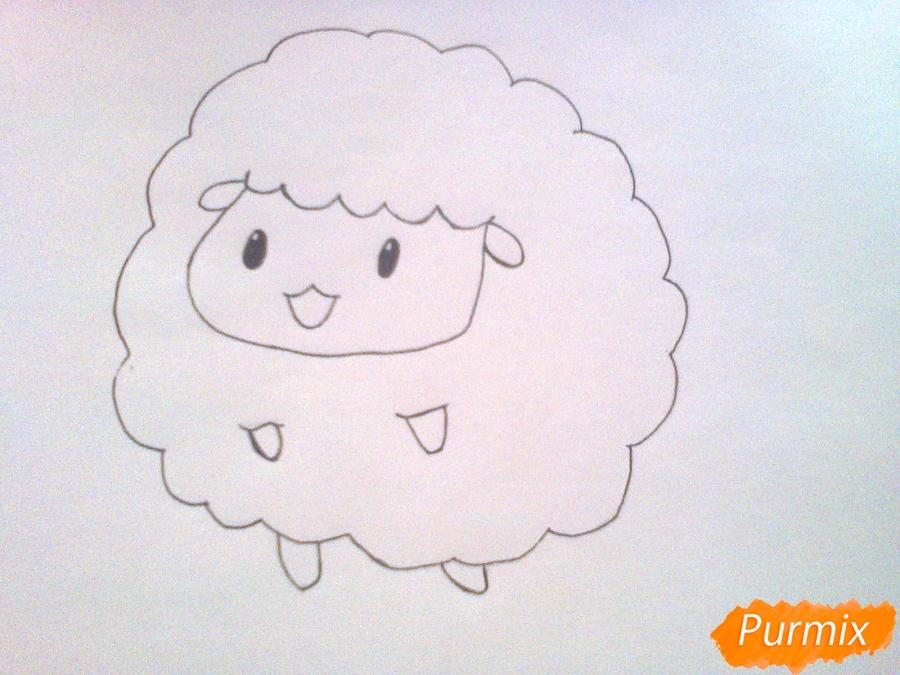 Рисуем милого барашка ребенку карандашами - шаг 5